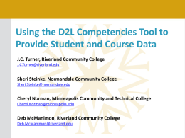Using the D2L Competencies Tool to Provide Student and Course