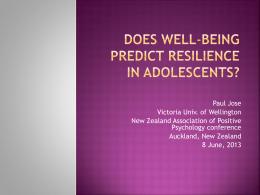 Does well-being predict resilience over time in adolescents?