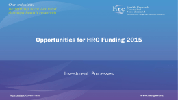 HRC`s roadshow presentation on funding opportunities for 2015