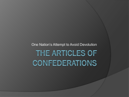 The Articles of Confederations