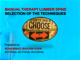 MANUAL THERAPY LUMBER SPINE SELECTION OF THE