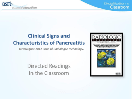 Clinical Signs and Characteristics of Pancreatitis