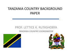 Tanzania Country Background Paper Presentation