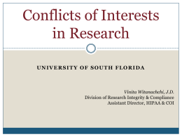 Conflict of Interest - USF Research & Innovation