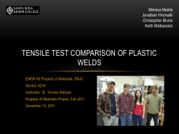 Tensile Test Comparison of Plastic Welds