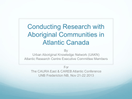 Conducting Research with Aboriginal Communities in Atlantic Canada