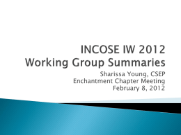 IW2012 Working Group Summary