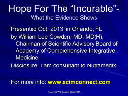 Cowden- Hope For The Incurable- Orlando 2013