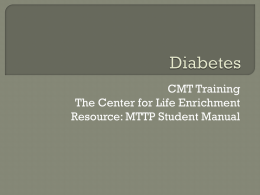 Diabetes - The Center for Life Enrichment