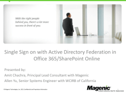 Office 365 Single Sign on with ADFS