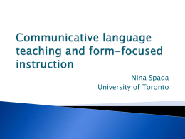 Research on second language learning: Some implications for