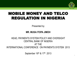 mobile money and telco regulation in nigeria