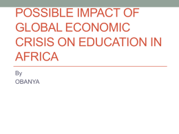 Possible Impact of Global Economic Crisis on Education In Africa