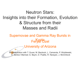 9:10-9:50 F. Ozel (Invited): Neutron Star Masses and Radii