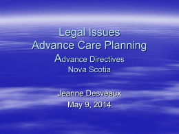 Personal Directives Act in Nova Scotia