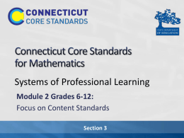 Presentation - Connecticut Core Standards