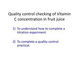 Vitamin C concentration practical