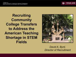 Recruiting Community College Transfers to Address the American
