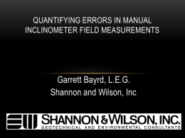 Quantifying Errors in Manual Inclinometer Field Measurements