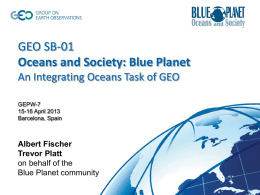 GEO and the Blue Planet Initiative - GEPW