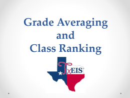 Grade Averaging and Class Ranking Training Document