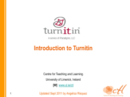 Turnitin presentation - University of Limerick