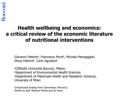 Giovanni Fattore – Health wellbeing and economics