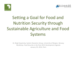 Setting a Goal for Food and Nutrition Security through