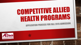Fall 2015 Allied Health Admissions Overview - Asheville