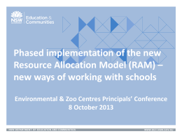 Phased implementation of the new Resource Allocation Model (RAM)