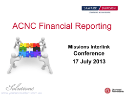 ACNC Financial Reporting