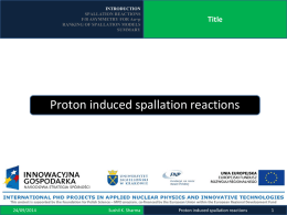 Proton induced spallation reactions