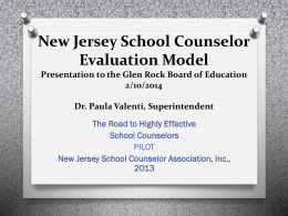 New Jersey School Counselor Evaluation Model Presentation to the