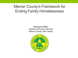 Mercer County`s (New Jersey) Framework for Ending