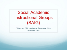 basic saig - Wisconsin PBIS Network