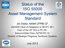 ISO 55000 Asset Management Dieter 2012 07 12