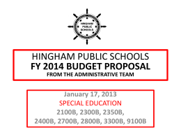 Special Education Budget Presentation FY 2014