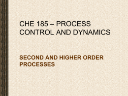 Lect. 15 CHE 185 – 2nd AND HIGHER ORDER PROCESSES