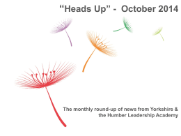 Heads Up October 2014 - Health Education Yorkshire and the Humber