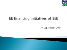 EE Financing Initiatives of BEE