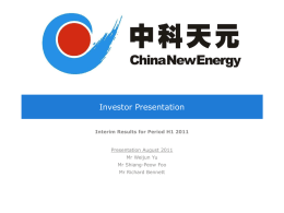 CNEL Investor Presentation and Updates September 2011