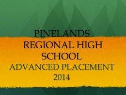 2014 AP Board Presentation - Pinelands Regional School District
