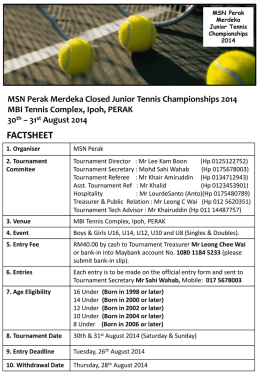 MSN Perak Merdeka Closed Junior Tennis Championships 2014