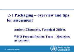 Packaging - Overview and tips for assessment