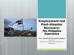 Employment-Led Post-Disaster Recovery: The Philippine