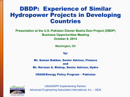 Experience of Similar Hydropower Projects in Developing Countries