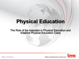 The Role of the Assistant in PE and APE - NC-APE