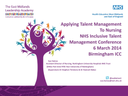 Nursing As Talent - The East Midlands Leadership Academy