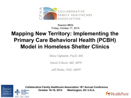 PCBH - Homeless Shelter Clinics - Collaborative Family Healthcare