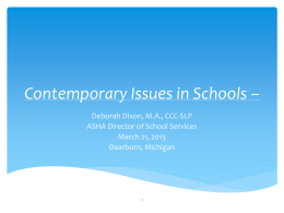 Contemporary Issues in Schools - Michigan Speech